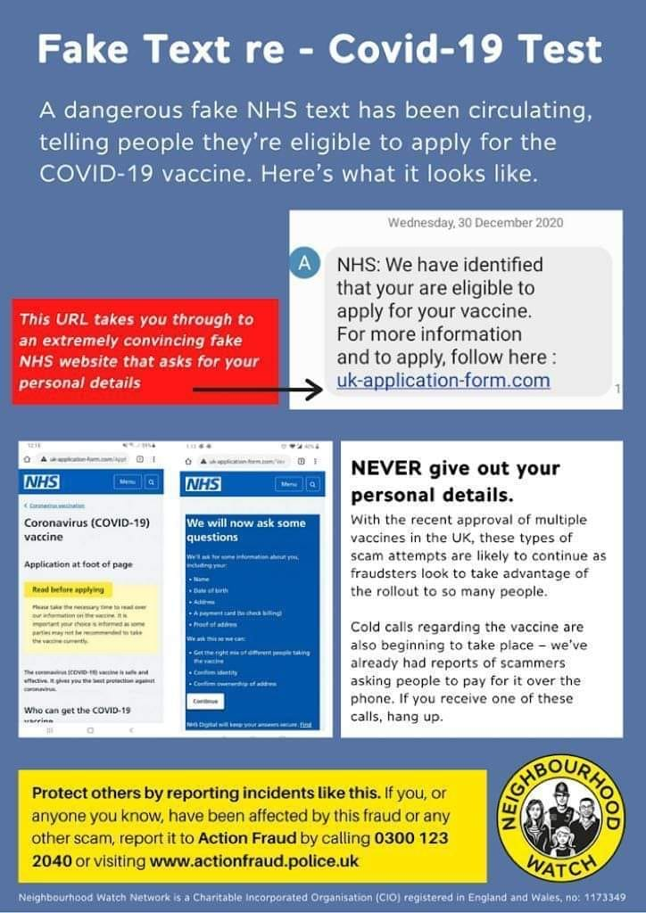 Please be aware that there are scam texts asking you to book a vaccine, click here to find out what the scams look like